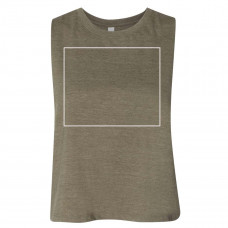 Heather Olive Women's Racerback Cropped Tank - BYOT