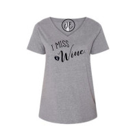 I Miss Wine Curvy Collection V-Neck
