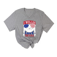 I Willie Love the USA V-Neck