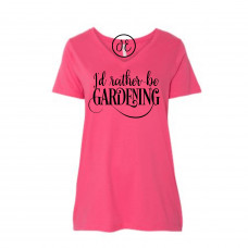 I'd Rather Be Gardening Curvy Collection V-Neck