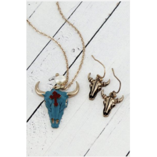 ~SALE~  Steer Skull Goldtone Necklace and Earring Set
