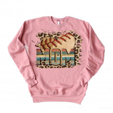 Leopard Baseball Mom Unisex Drop Sleeve Sweatshirt