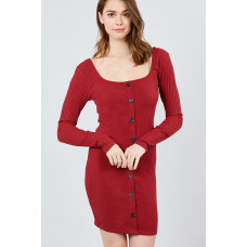 **Long Sleeve Front Button Mini Dress