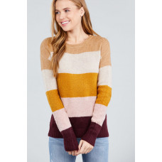 **Long Sleeve Round Neck Color Block Sweater- Oatmeal