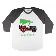 Merry Christmas Buffalo Plaid Jeep Raglan