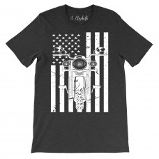 Motorcycle Flag Crew Neck T-Shirt