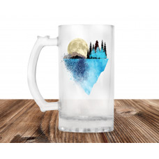 Mountain Adventure 16oz Frosted Glass Beer Mug