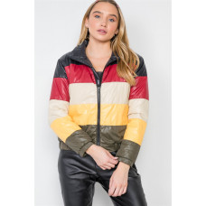 **Multi Color Block Zip-up Puffer Jacket