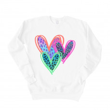 Neon Hearts Drop Sleeve Sweatshirt