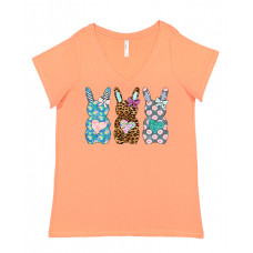 Pattern Easter Bunnies Curvy Collection V-Neck