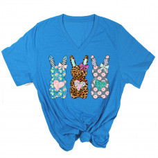 Pattern Easter Bunnies V-Neck T-Shirt