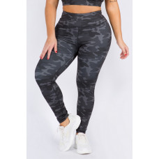 Plus Dark Camo High Rise Leggings