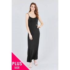 ** Plus Double V-neck Cami Maxi Dress - Black