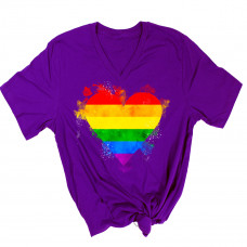 Pride Watercolor Heart V-Neck T-Shirt