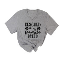 Rescued is My Favorite Breed V-Neck T-Shirt