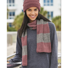 Rugby-Striped Knit Scarf - (Multiple Colors)