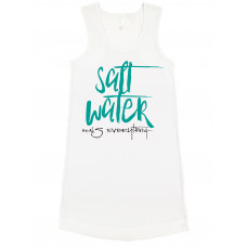 ~SALE~ Salt Water Heals Everything Jersey Racerback Tank Dress- Caribbean Large