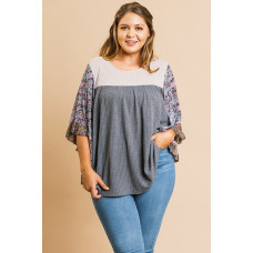 **Sheer Floral Sleeve Knit Top - Charcoal