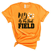 Soccer My Heart is on that Field (Orange) Crew Neck T-Shirt