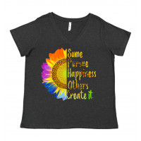 Some Pursue Happiness Others Create It Curvy Collection V-Neck