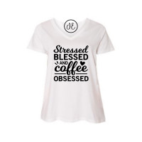 Stressed Blessed Coffee Curvy Collection V-Neck