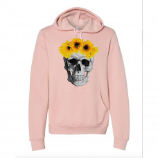 Sunflower Crown Skull Fleece Hoodie