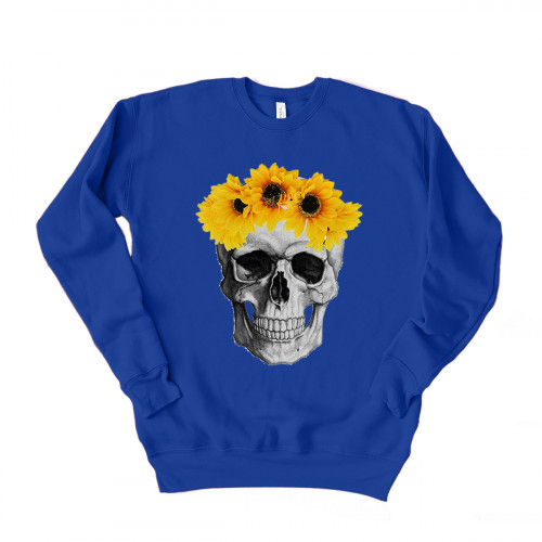 Sunflower Crown Skull Drop Sleeve Sweatshirt