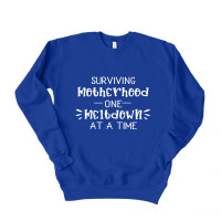 Surviving Motherhood One Meltdown At A Time Drop Sleeve Sweatshirt - Parental Hope