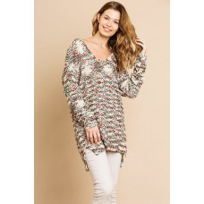 ** Tan Long Sleeve V-neck Soft Knit Pullover
