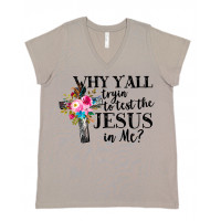 Test the Jesus in Me Curvy Collection V-Neck