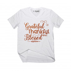 Grateful Thankful Blessed V-Neck