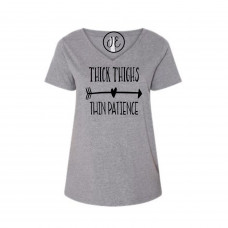 Thick Thighs Thin Patience Curvy Collection V-Neck