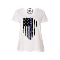 Thin Blue Line Curvy Collection V-Neck