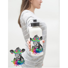 Tie Dye Cow Water Bottle