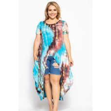 **Tie Dye Crew Neck High Low Top - Teal/Burgundy