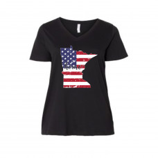 US Flag States of America Curvy Line V-Neck (ALL STATES!)