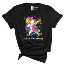 Unicorn Autism Awareness Crew Neck T-Shirt