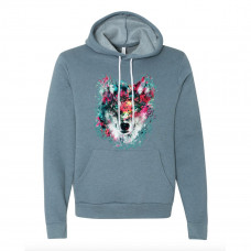 Watercolor Wolf Fleece Hoodie
