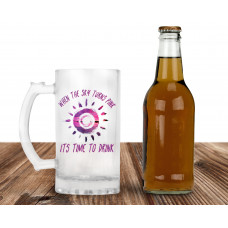When The Sky Turns Pink 16oz Frosted Glass Beer Mug