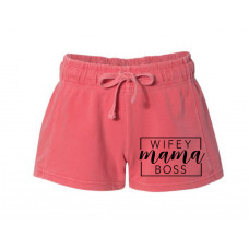 Wifey Mama Boss Printed French Terry Shorts