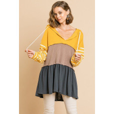 ** Yellow Color Blocked Hooded Tunic