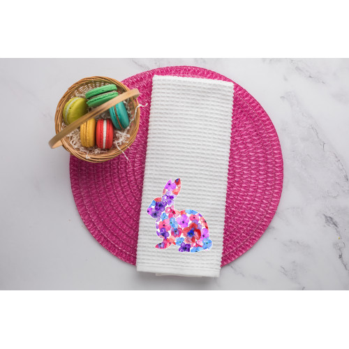 Floral Bunny Waffle Weave Dish Towel