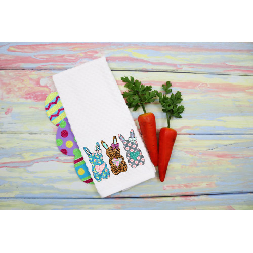 Pattern Easter Bunny Waffle Weave Dish Towel