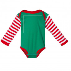 Kelly Red/White Stripe Long Sleeve Onesie BYOT