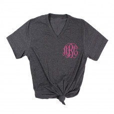 Customized Cursive Monogram Embroidered V-Neck