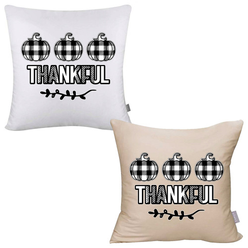 Plaid Thankful Pillow Cover