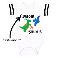 Custom Name Saurus Football Onesie